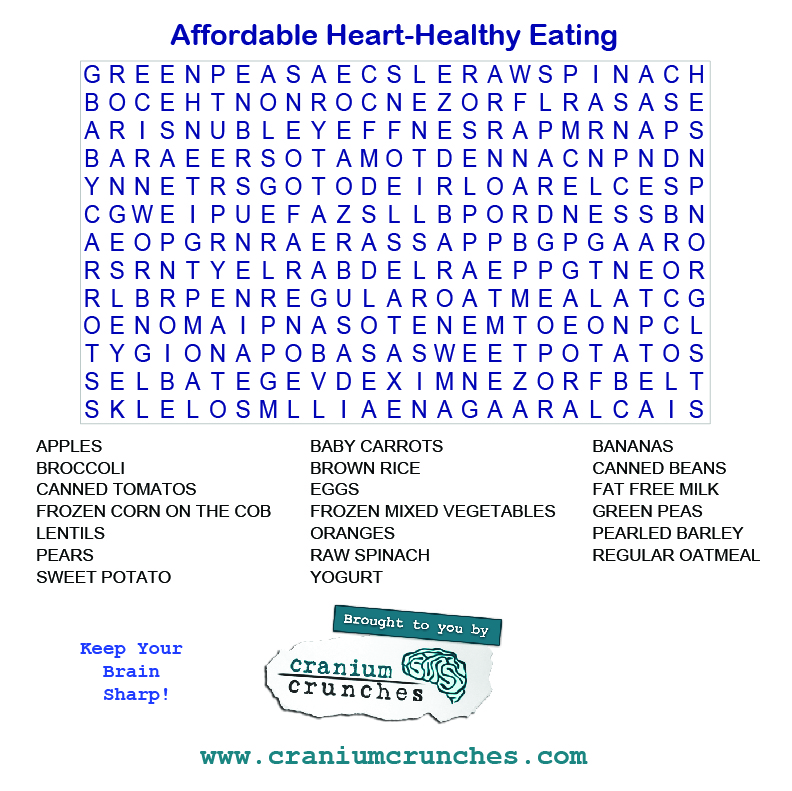 Word Search Heart Healthy Eating
