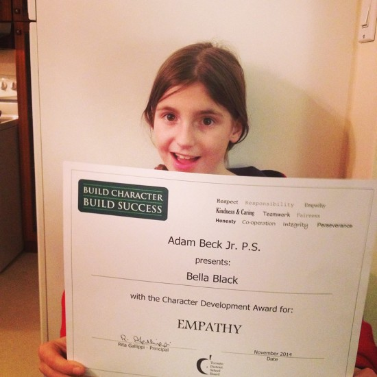 Bella's Toronto District School Board award
