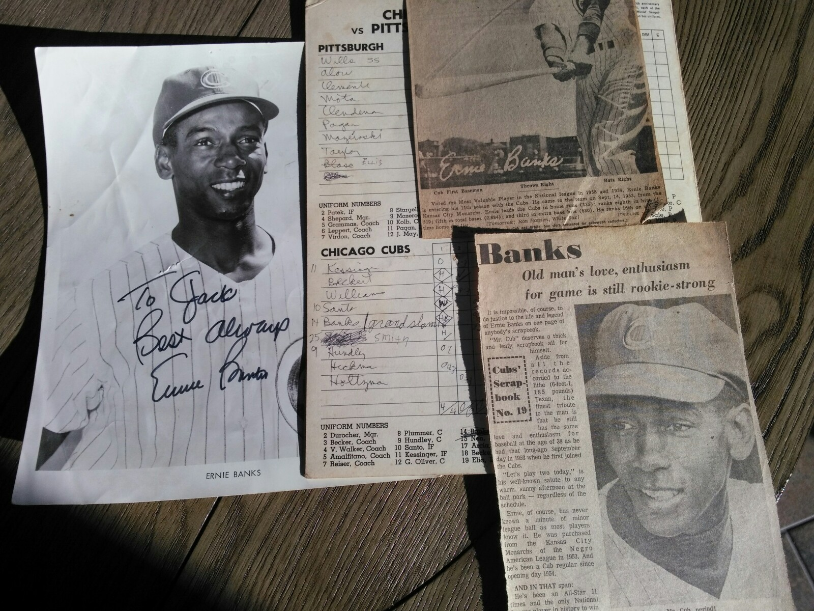 This is the photo that my big brother got that day along with some really cool pieces of Ernie Banks history. That score card takes me right back!